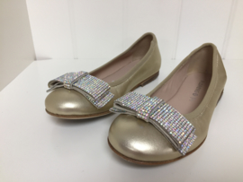 Florens, gouden ballerina's met strass strik