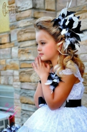 Haarclip Black & White Lace Feather Girls Dress
