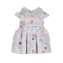 Lapin House, grijs/roze jurk met strikken
