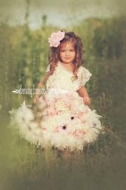 """A Flurry Of Flowers"" A GORGEOUS Satin Rosette Dress plus Flower Aprons"