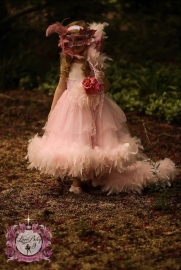 """""""Princess FeatherBottom""""... Double Tier Extravagance With Removeable Chiffon Feathered Train"""