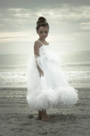 """""""A Walk In The Clouds""""... A Feather, Satin, and Pearl Beaded Dress For The Little Lady"""