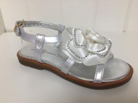 Blumarine, zilveren sandalen met strass roos