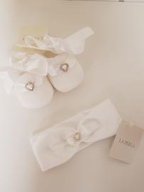 La Perla, witte haarband met sokjes met strass hartje
