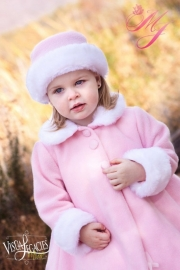 Schattige Roze Fleece Jas met Faux Fur Trim & Matching Hat