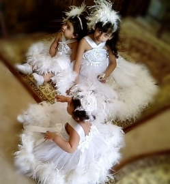 Angel From Heaven White Rosette Feather Dress