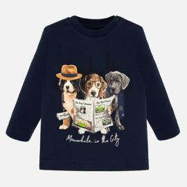 Mayoral, donkerblauwe longsleeve met hondjes