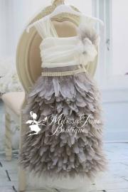 Blushing Blush Girls Feather Grey Dress