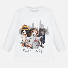 Mayoral, witte longsleeve met hondjes