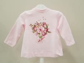 Monnalisa, roze longsleeve met roosje