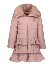 Le Chic, dusty roze winterjas met ruffles