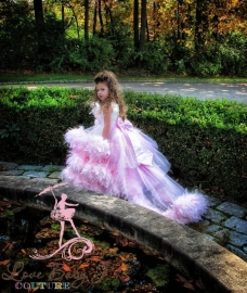 A Moment Remembered... An Exquisite Feather Dress With Removeable Train & Bustle