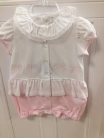 Aletta, wit/roze zomerpakje met strikjes