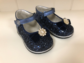 Blumarine, donkerblauwe glitter schoenen