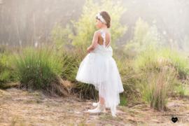 Linea Raffaelli, off white jurk met sparkle flower