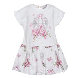 Monnalisa, witte jurk met vogelhuisje