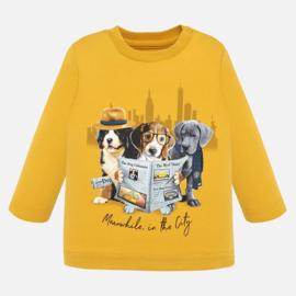 Mayoral, okergele longsleeve met hondjes