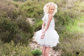 Linea Raffaelli, off white jurk met sparkle tulle