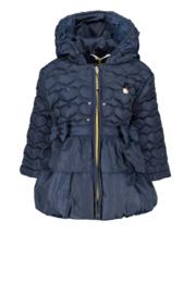 Le Chic, donkerblauwe winterjas met strikjes