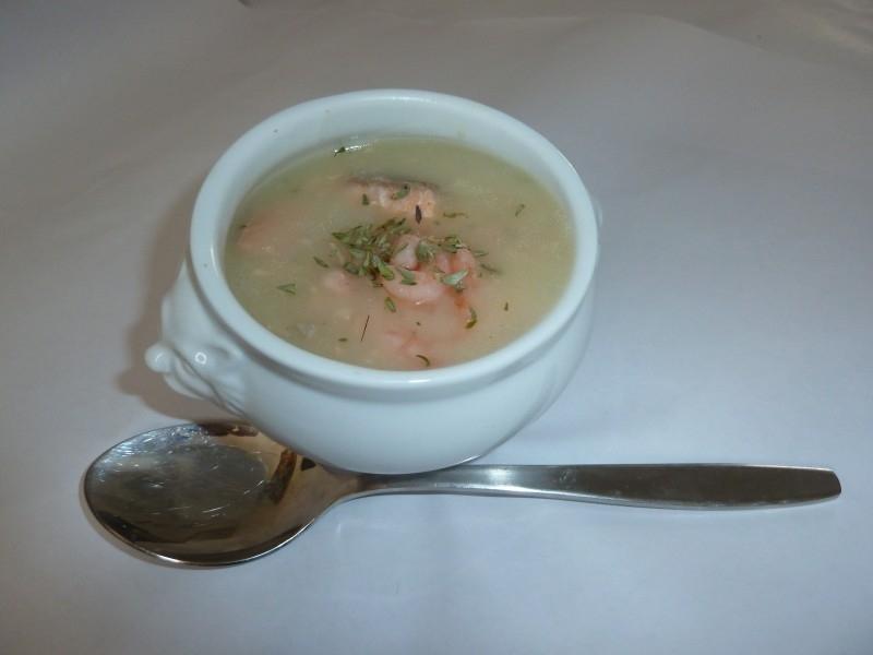 Zalm/garnalen soep