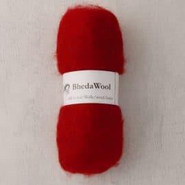 Bhedawol - gekaard vlies - 25 gr. rood