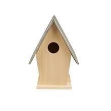 Houten vogelhuis zinken dak