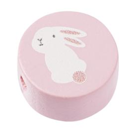 """Houten vormkraal """"schijf konijn """" per stuk roze"""
