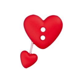 Knoop hartvorm met bungelend hart rood
