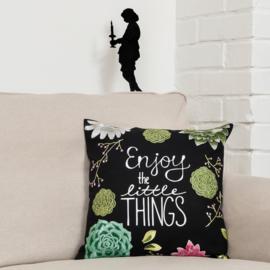 Borduurpakket voorbedrukt kussenhoes Enjoy the little things