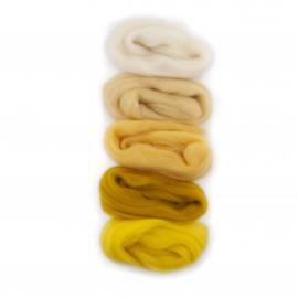 Europese Merino Lontwol mix set wit-geel