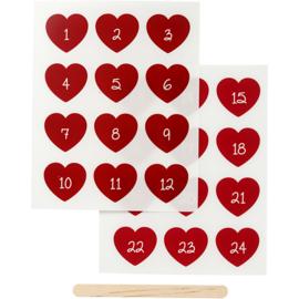 Rub-on sticker hartjes met cijfers