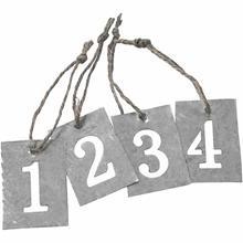 Labels zink cijfers 4 stuks