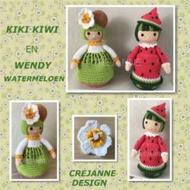 Kiki Kiwi en Wendy Watermeloen papieren patroon