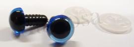 Veiligheidsoogjes 15 mm. blauw per paar