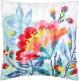 Borduurpakket Bloem in frisse kleuren