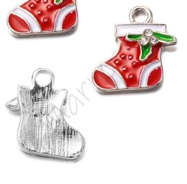 Bedel kerstsok rood/nikkelkleur