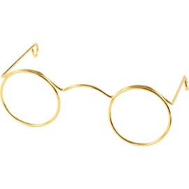 Poppenbrilletje goudkleurig 60 mm.