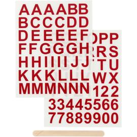 Rub-on sticker letters en cijfers rood