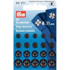 Prym aannaaidrukkers  assortiment zwart 6 - 11 mm.