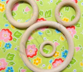 Houten ringen 5 stuks 3,5 cm.