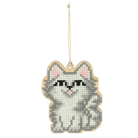 Diamond Painting houten White Cat