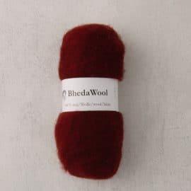 Bhedawol - gekaard vlies - 25 gr. warmrood