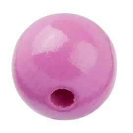 """Houten kraal """"15 mm.""""per stuk roze"""