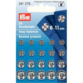 Prym aannaaidrukkers  assortiment zilverkleurig 6 - 11 mm.