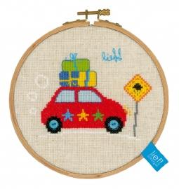 Telpatr. klein Op vakantie met de auto incl. borduurring