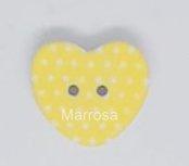 Knoop hartvorm polka dot geel