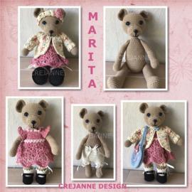 Marita, de aankleedbeer papieren patroon