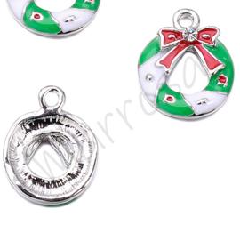 Bedel kerstkrans rood-groen/nikkelkleur