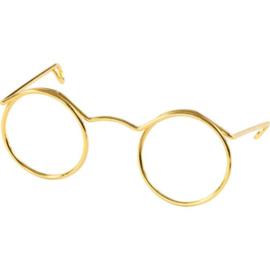 Poppenbrilletje goudkleurig 50 mm.