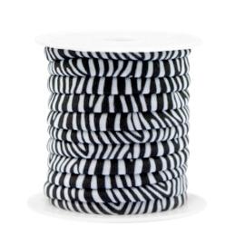 Stitched elastisch lint 4 mm. 25 cm. zebra Black-white